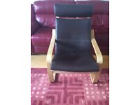 Ikea Poang dark brown leather chair and foot stool