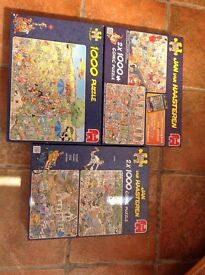 Total 5 x 1000 piece comic jigsaws. All complete.