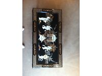 COFFEE TABLE, JAPANESE STYLE, MOTHER OF PEARL FIGURES AND BLACK LAQURE , GOOD CONDITION