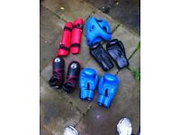 Kickboxing gear: gloves, boots, pads, headguard