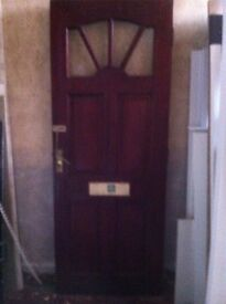 Mahogany Front door with hinges, lock, and keys