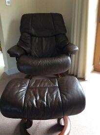 Ekorness Stressless Vegas armchair, high back and reclining plus stool