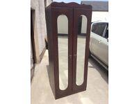 Small mahogany 2 door mirrored front wardrobe