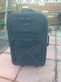 2 wheeled pull along black suitcase