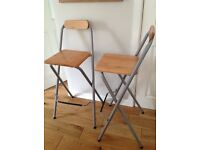 2 folding kitchen breakfast bar stools