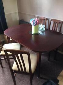 Mahogany effect extending dining table set