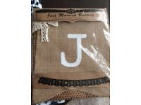 REDUCED**Hessian Wedding Bunting ( Brand new)