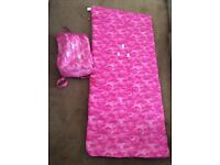 Kids Pink sleeping bag with rucksack