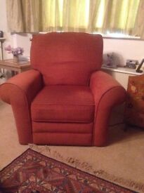 Electric Recliner Armchair. Terracota upholstery. Excellent condition. Buyer to collect.