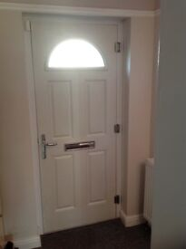 Black composite door and white frame for sale