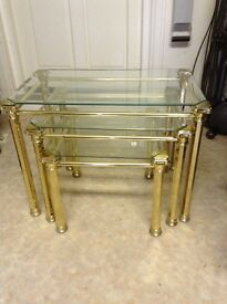 Gold and Glass Nest of Tables
