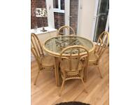 Cane wicker conservatory table and chairs