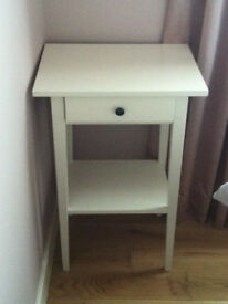 White bedside table with drawer and lower shelf