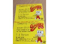 2 Gullivers Warrington tickets