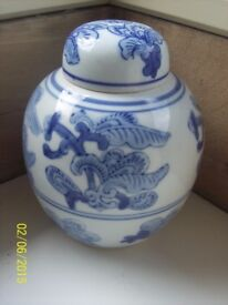 Oriental Blue & White Ginger / Temple Jar (with lid)