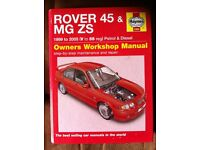 Haynes Manual For Rover 45 & MG ZS 99-05