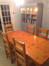 6 seater antique pine dining room table and chairs