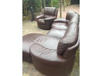 Brown leather corner sofa with recliner chair