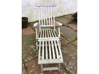 2 hardwood steamer garden chairs / loungers