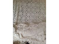 Beautiful vintage lace cream bedcover
