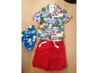 Boys Short, shirt and sun hat age 2-3