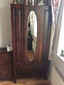Wardrobe/dressing table set circa 1920 Dark oak