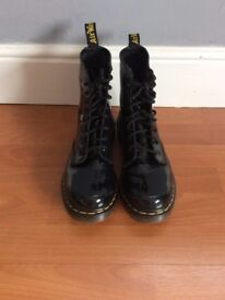 Women's Black Patent Leather Doc Martens, Size 5