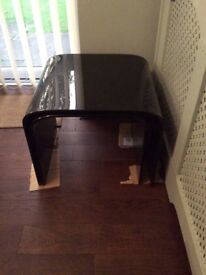 Solid glass black nest of three tables