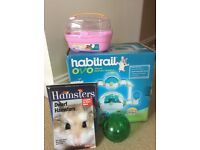 Dwarf Hamster Ovo Habitrail house, pink carry case, green exercise ball and 2 books about Hamsters