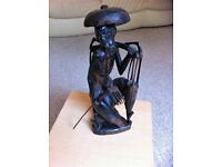 vintage Hard wood Chinese figarine of a fisherman
