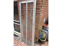 Satin Anodised Aluminium bi fold Shower door. 720mm -800mm wide