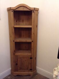 Corona pine corner display unit with 3 shelves and cupboard only £35for quick sale