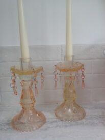 Pretty pink glass candlesticks