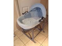 Beautiful blue and grey Moses basket and stand