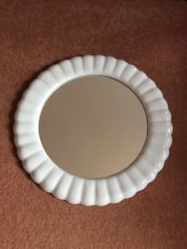 Mirror with ceramic scallop surround