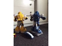 pair of fighting remote controlled mimicking robots