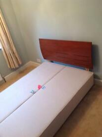 Double bed Divan light Biege base with solid teak wood headboard