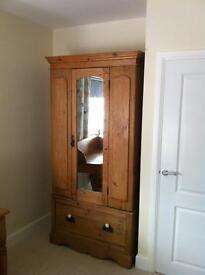 Single old pine wardrobe