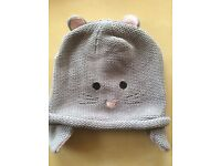 VGC John Lewis Girls Knitted Mouse Hat Beanie (Fits 2-3 years)