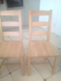two all wood dining chairs
