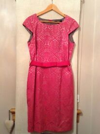 Next Pink & Silver Dress with belt, zip back and fully lined, size 16. Beautiful colour and fit.
