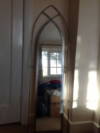 Gothic style, brushed silver framed mirror