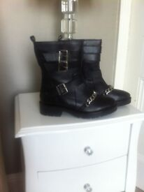 River island leather boots with buckles