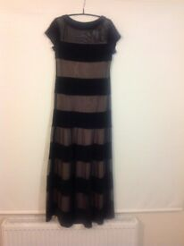 Gorgeous R&M Richards Black and Beige Maxi Gown