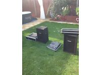 Two speakers and two stands lights and stands amplifier and mackie mixer vgc only selling as retirig