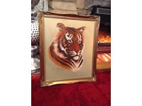 Tiger Painting with Gold Frame