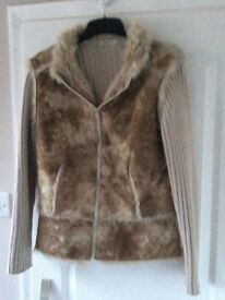 faux leather and wool stone coloured jacket