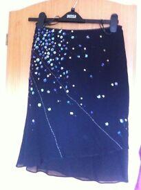 Karen Millen bias cut layered 100% silk skirt