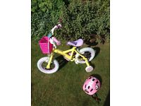 Girls first two wheeled bike with stabilisers Nearly new condition