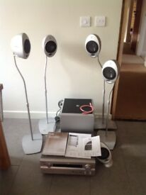Surround sound system with amp, subwoofer and speakers